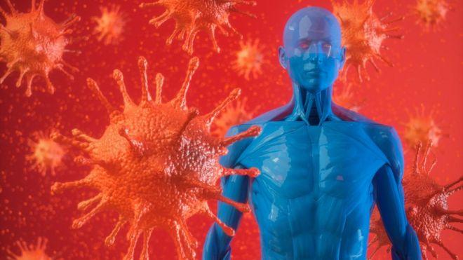 Ilustração de vírus ao lado de corpo humano