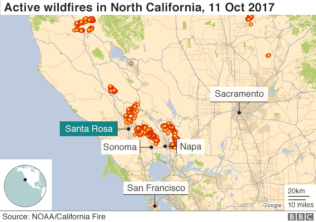 California fires Scores missing as death toll rises to 17 BBC News
