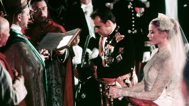 Grace Kelly and Prince Rainier at their religious ceremony in Monaco's Saint Nicholas Cathedral on April 19, 1956.