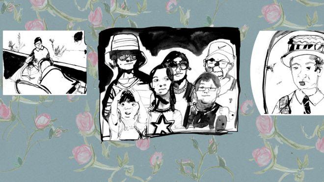 Ilustração de fotos da família