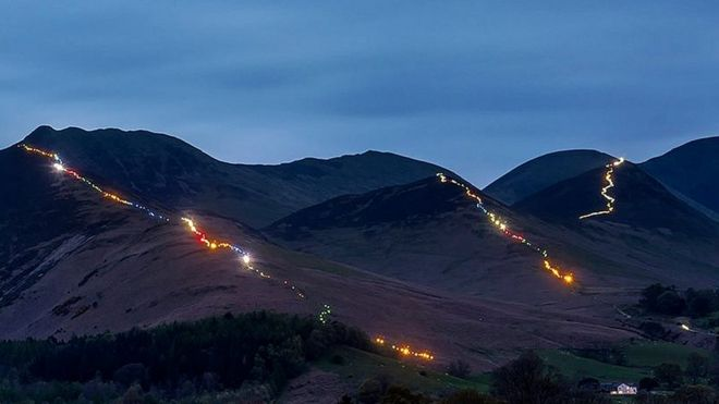 Lake District peaks lit up for Nepal quake appeal