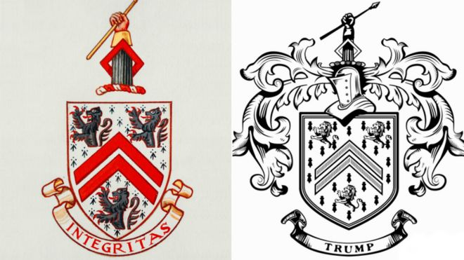 Right To Bear Arms Trump Accused Of Plagiarising Family Crest Bbc