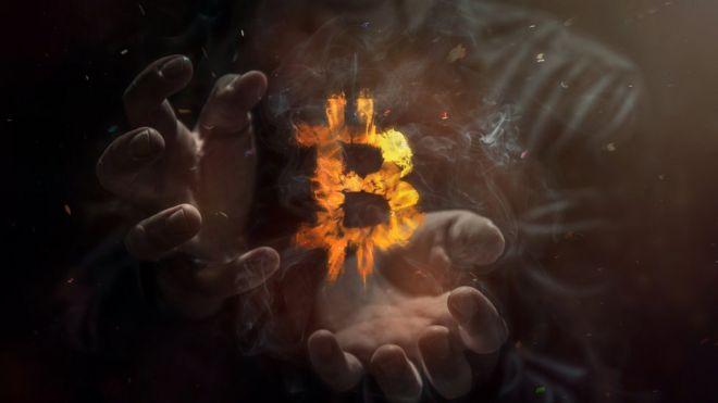 Não com a letra B de biticoin em chamas