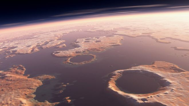 illustration of Martian ocean