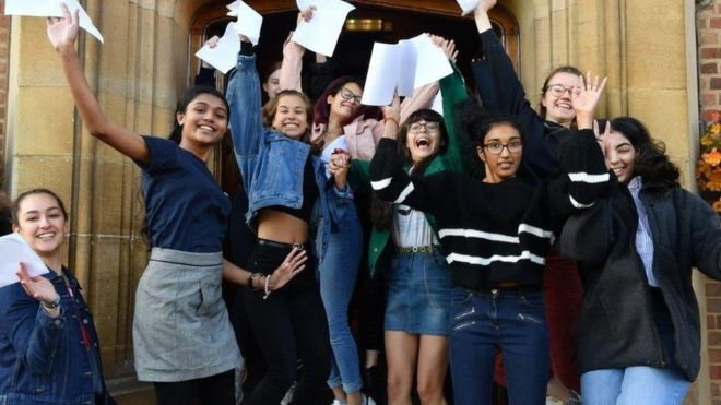 Girls celebrate at King Edward VI School Birmingham