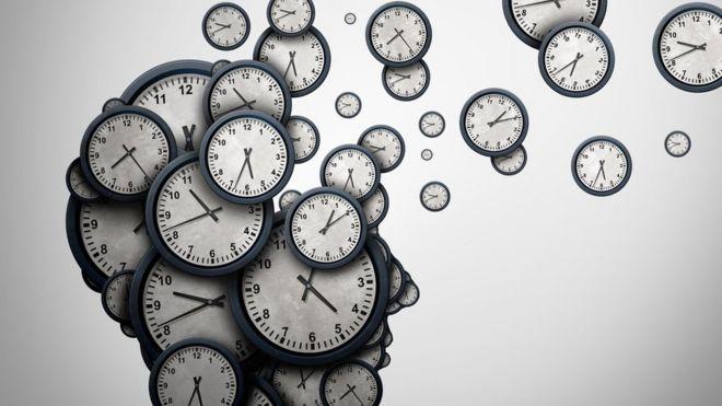Cabeça formada por relógios
