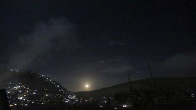 Syrian air defences said intercepting reported Israeli missiles in Damascus, 21 January