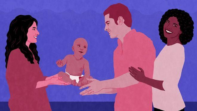 Ilustración de una mujer que le entrega su bebé a una pareja.