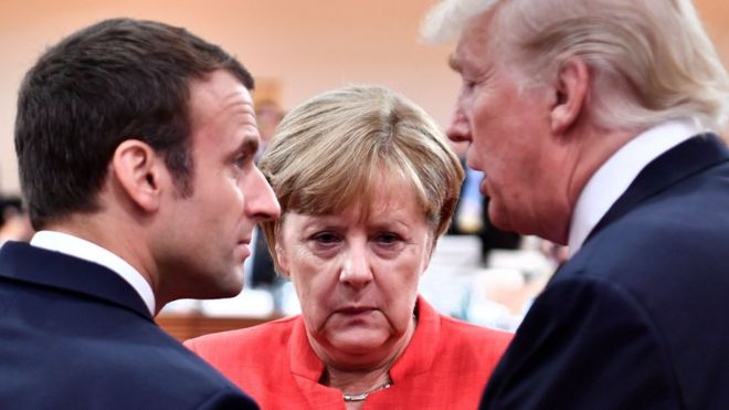French President Emmanuel Macron, German Chancellor Angela Merkel and US President Donald Trump