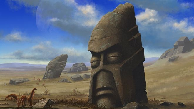 Ilustração de um estudo feito pelo físico Adam Frank, que imaginou uma suposta população alienígena baseada na Ilha de Páscoa