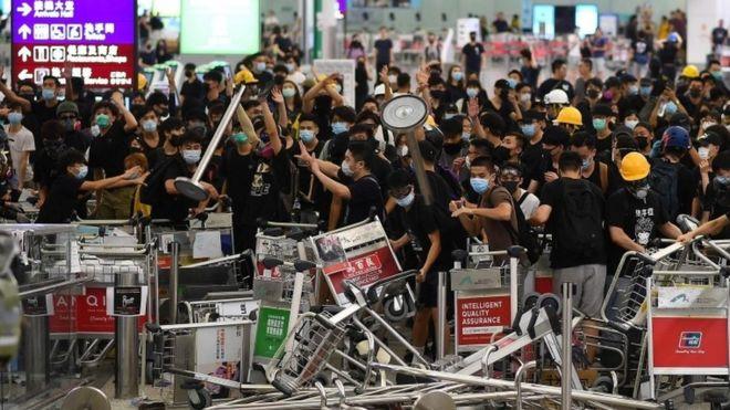 Protest barricade at Hong Kong airport