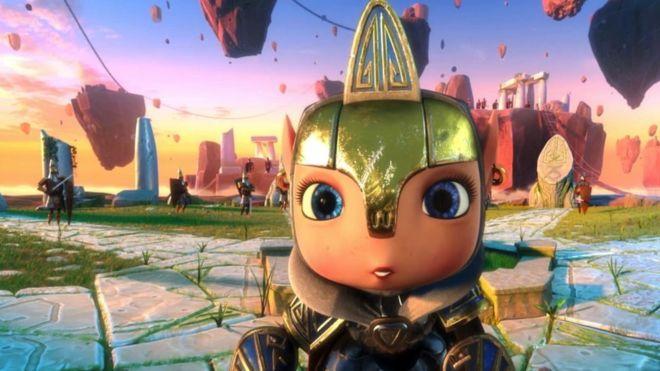 Personagem de desenho animado em uma paisagem ilustrada colorida