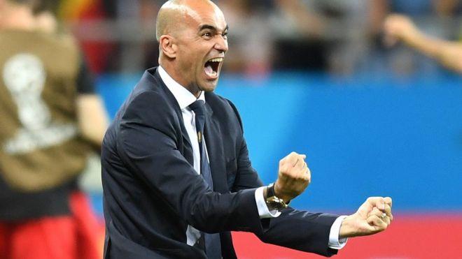 Roberto Martínez celebra un gol de Bélgica.