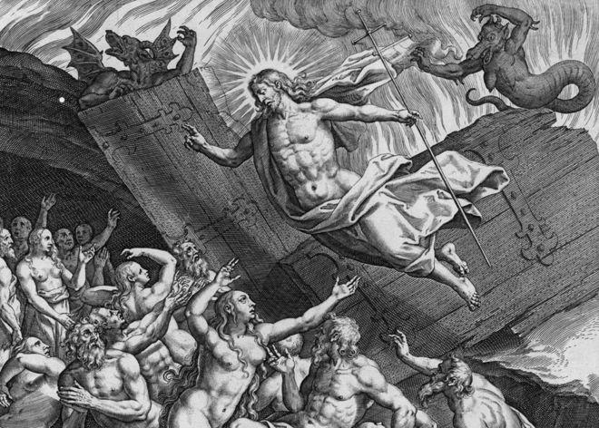 Гравюра 16-го века Адриана Колларта изображает Страшный Суд
