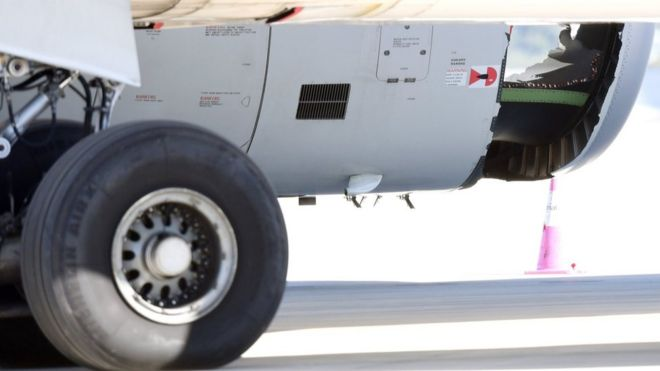 Plane lands safely in Sydney with hole in engine casing