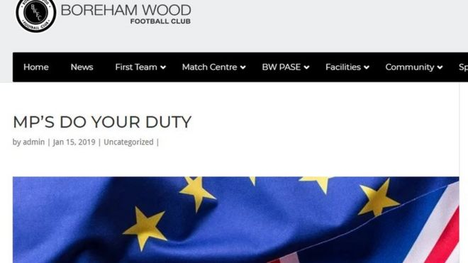 Boreham Wood FC's 'weird' 1,400-word Brexit post - BBC News