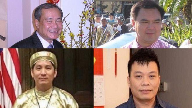 Từ trái, các cử tri gốc Việt ông Hoàng Đức Nhã, Trần Thái Văn, Hoàng Vi Kha và Kevin Trần