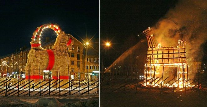 Christmas Goat.Swedish Town Vows To Protect Giant Christmas Goat Bbc News
