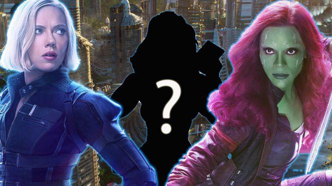 Scarlett Johansson as Black Widow and Zoe Saldana as Gamora