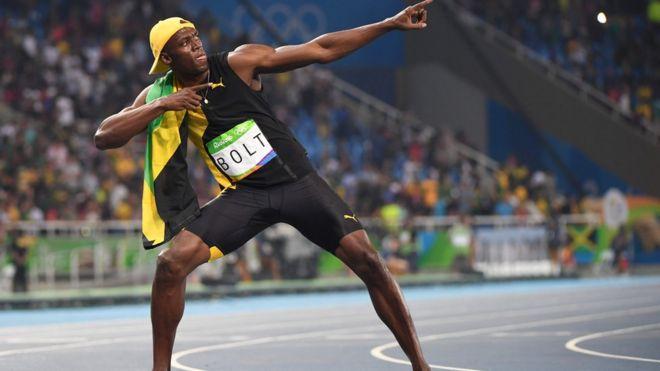 Usain Bolt no estádio olímpico do Rio