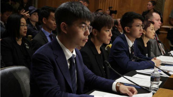 Joshua Wong và các nhà hoạt động Hong Kong trong phiên điều trần trước Quốc hội Mỹ hôm 17/9/2019