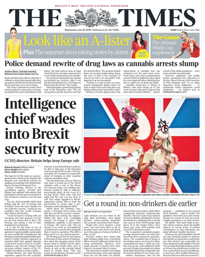 Times front page - 20/06/18