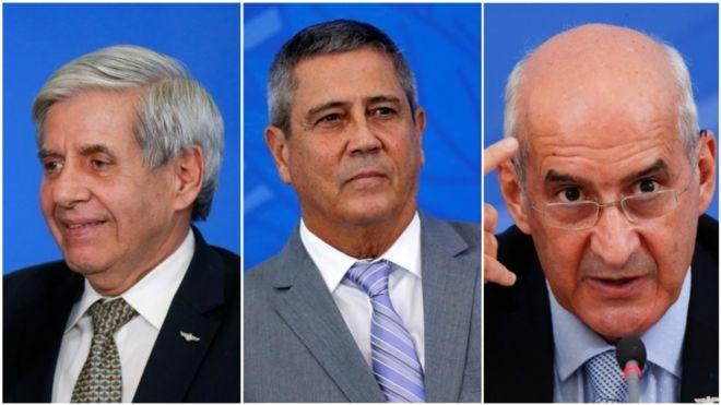 Colagem de fotos dos ministros Augusto Heleno, Braga Netto e Luiz Eduardo Ramos