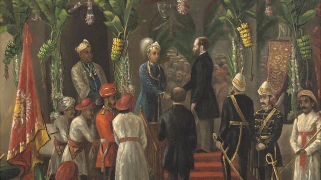'The King of Travancore and his younger brother Buckingham welcomed the Governor of Madras, Richard Temple Greenville' by Raja Ravi Varma