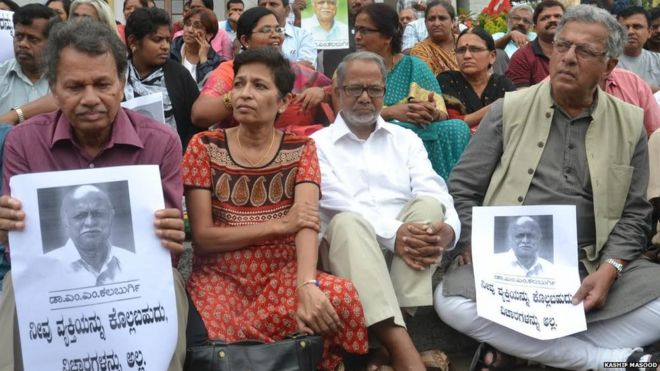 Protesting the murder of M.K. Kalburgi