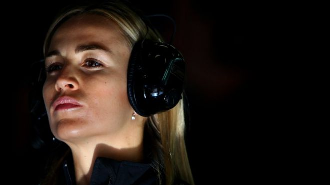Jenson button criticises claims that f1 too physical for women a close up of carmen jorda wearing large headphones and looking determined ccuart Choice Image