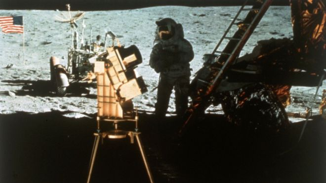 Imagem mostra o homem na Lua