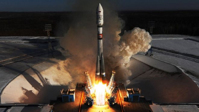 A rocket is launched from the Vostochny Cosmodrome to deliver satellites