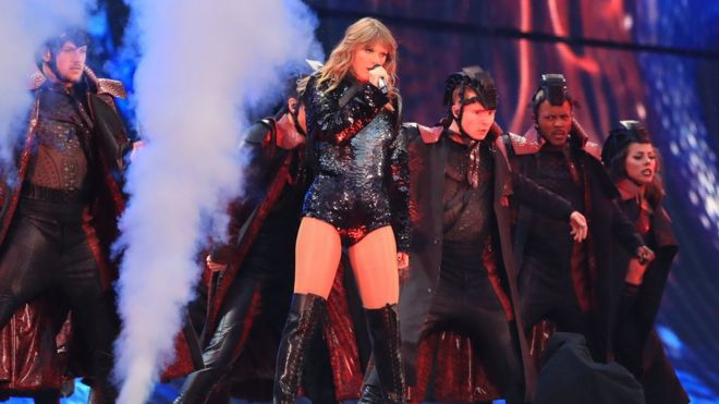01731b6534b7 Taylor Swift at Manchester s Etihad Stadium Image copyright PA Image  caption Taylor Swift opened her UK tour ...