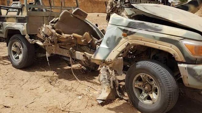 Part of di vehicles wey di Boko Haram terrorists scata