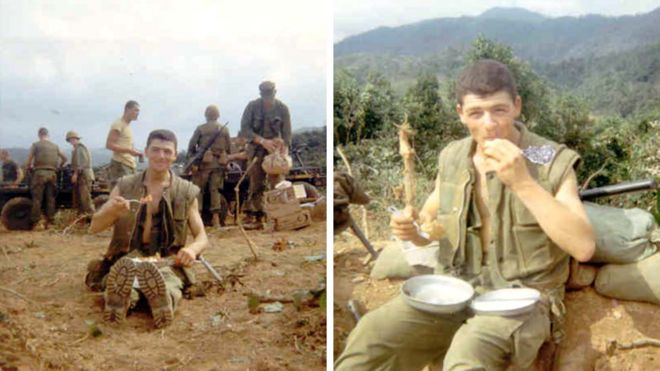 Two images of Raffaele Minichiello in Vietnam