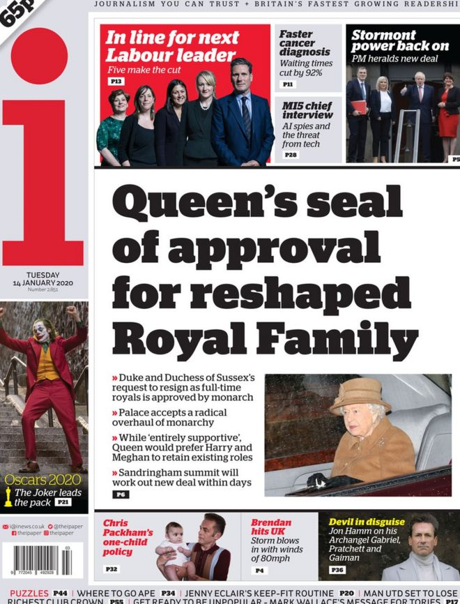 The i front page 14 January