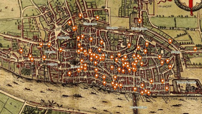 Centre London Map.Medieval London S Murder Hotspots Revealed Bbc News