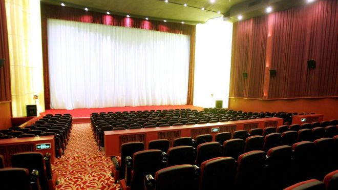 A newly installed cinema seating at Beijing's Daguanlou movie theatre