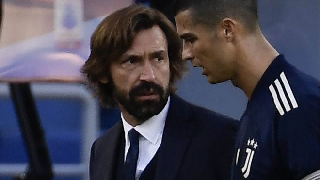 Juventus manager Andrea Pirlo and forward Cristiano Ronaldo