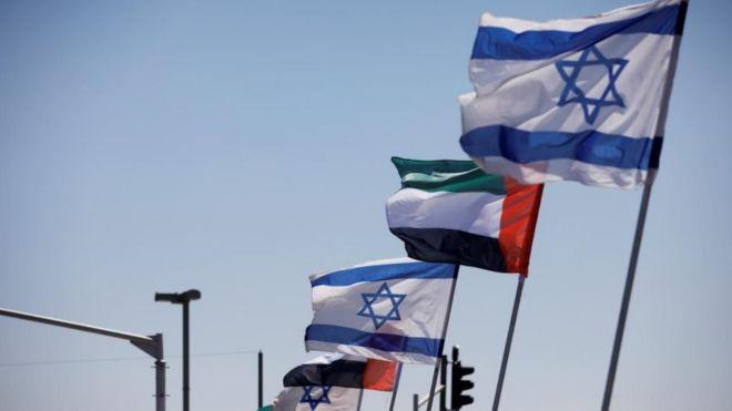 أعلام إسرائيلية وإماراتية