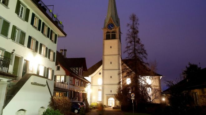 A general view shows the Protestant Reformed Church in Wädenswil, Switzerland December 13, 2017.