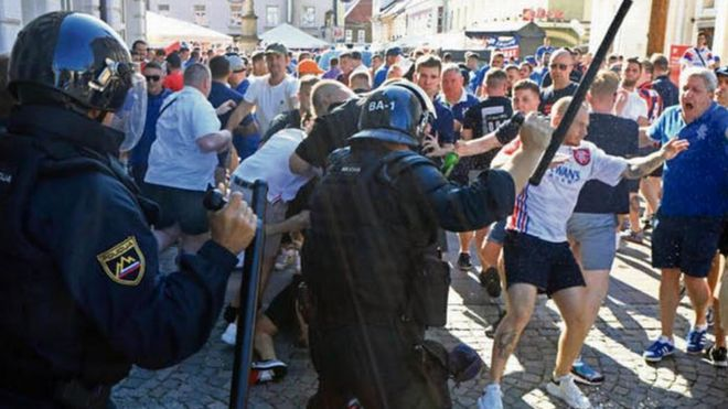 rangers fans in clashes with slovenian riot police bbc news