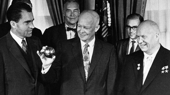Nixon, Eisenhower e Khrushchev na Casa Branca em 1959