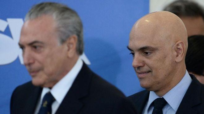 Александр де Мораес и президент Мишель Темер в Бразилиа, 3 февраля 2017 года