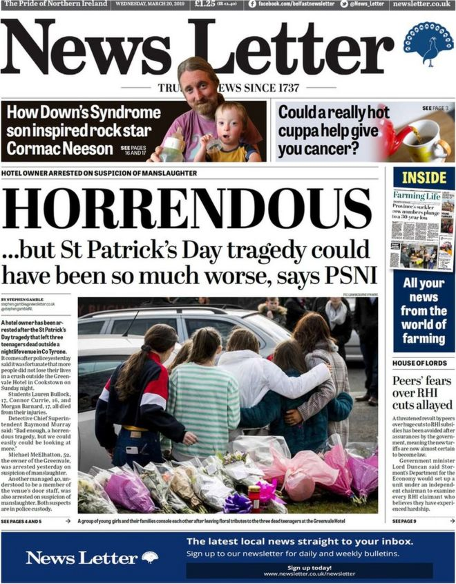 NI Paper review: Cookstown horror dominates papers - BBC News