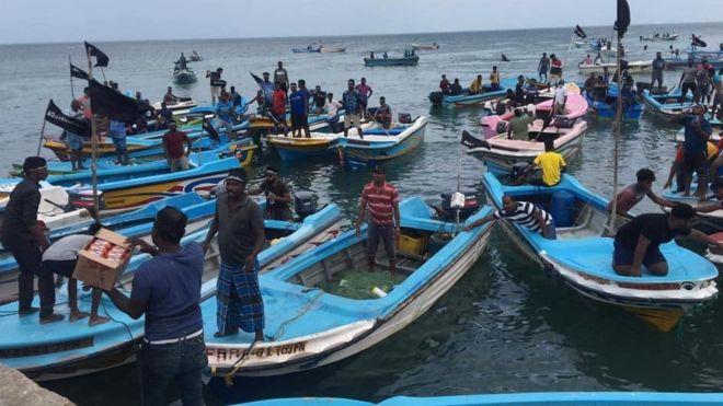 Fishermen's protest Sri Lanka 2021 Oct