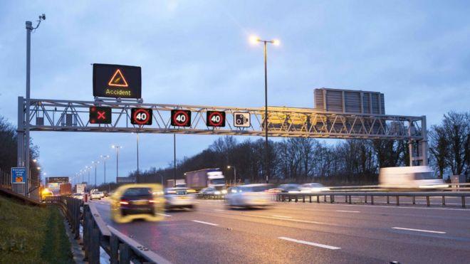 A smart motorway during a crash