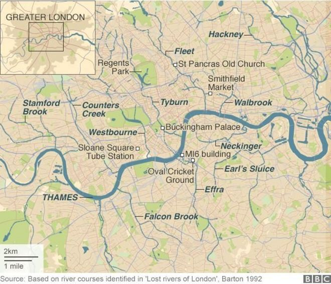 Rivers Subway Map.The Lost Rivers That Lie Beneath London Bbc News