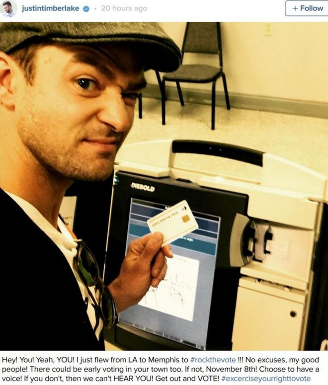 ebdc36e358d1b Justin Timberlake in election voting selfie gaffe - BBC News