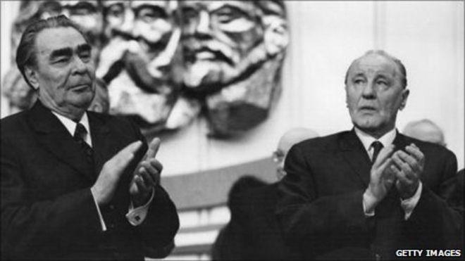 Leonid Brezhnev and Janos Kadar